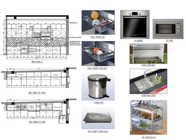 bảng vẻ chi tiết tủ bếp acrylic giá rẻ