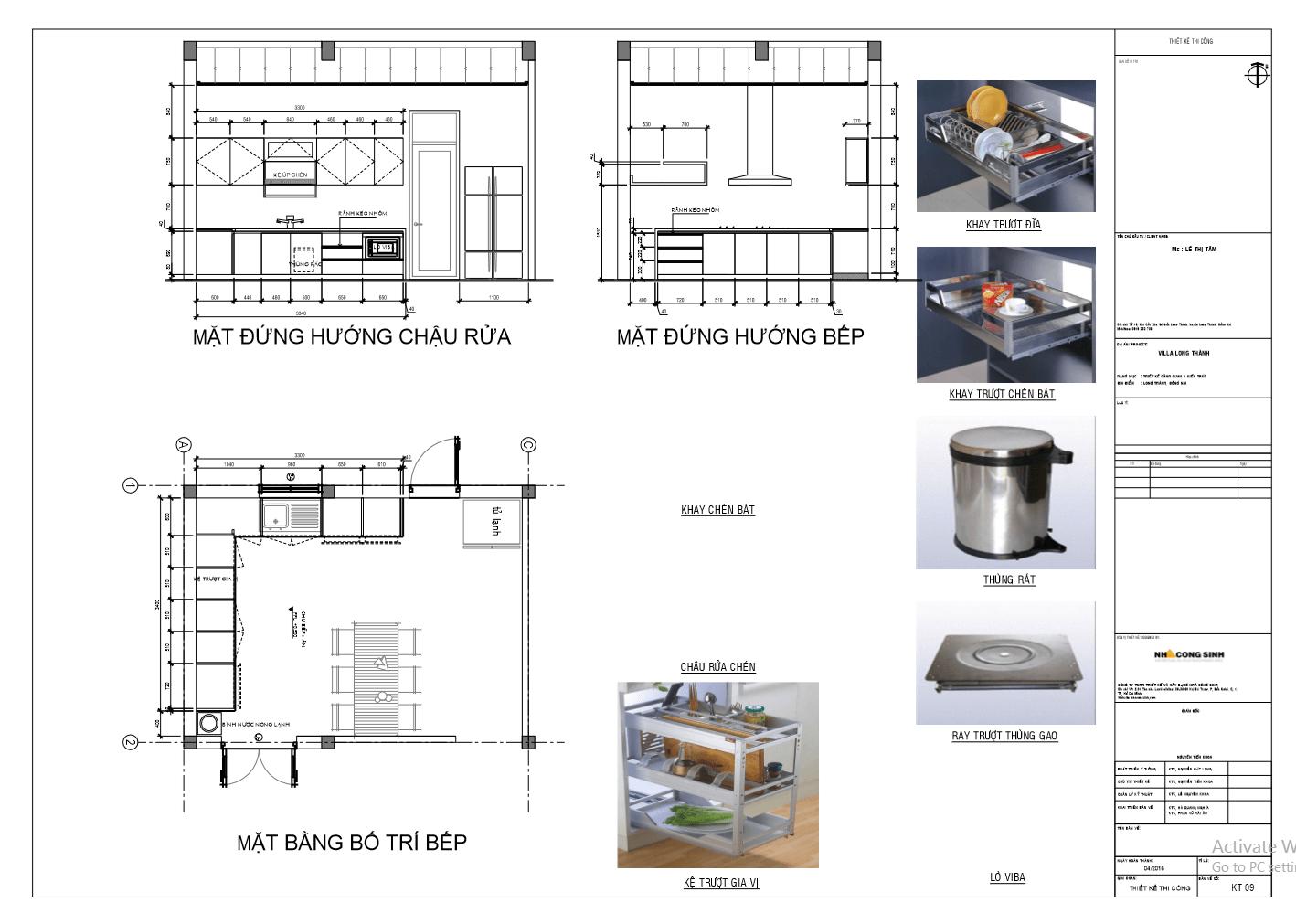 Bản vẻ chi tiết tủ bếp acrylic cao cấp