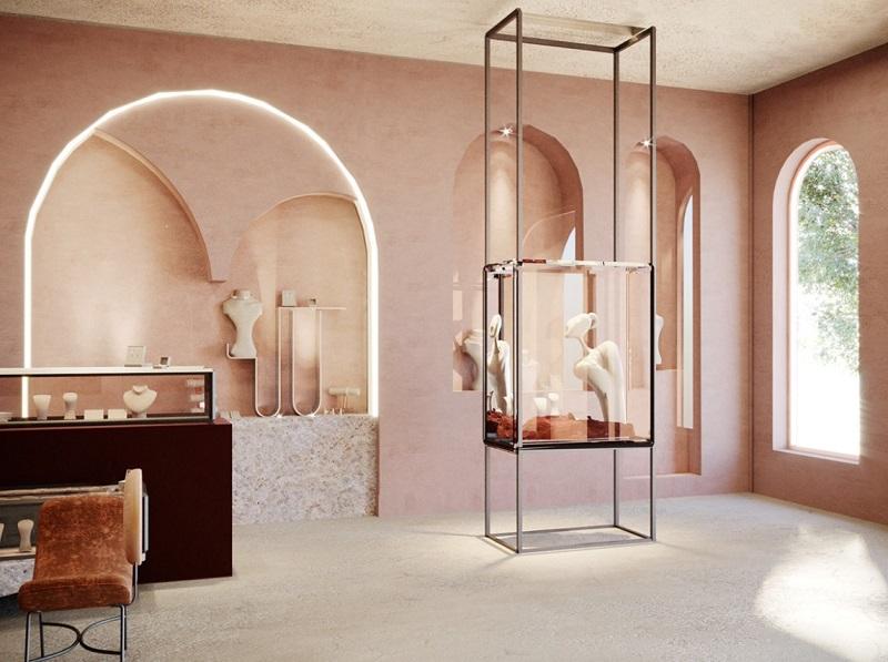 Không gian sang trọng trong thiết kế nội thất tiệm vàng