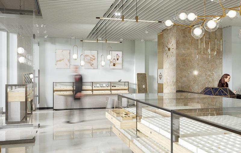 Hệ thống ánh sáng hiện đại trong thiết kế nội thất tiệm vàng