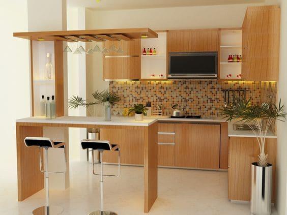 Mẫu Quầy Bar Tủ Bếp Đẹp - Hình 01