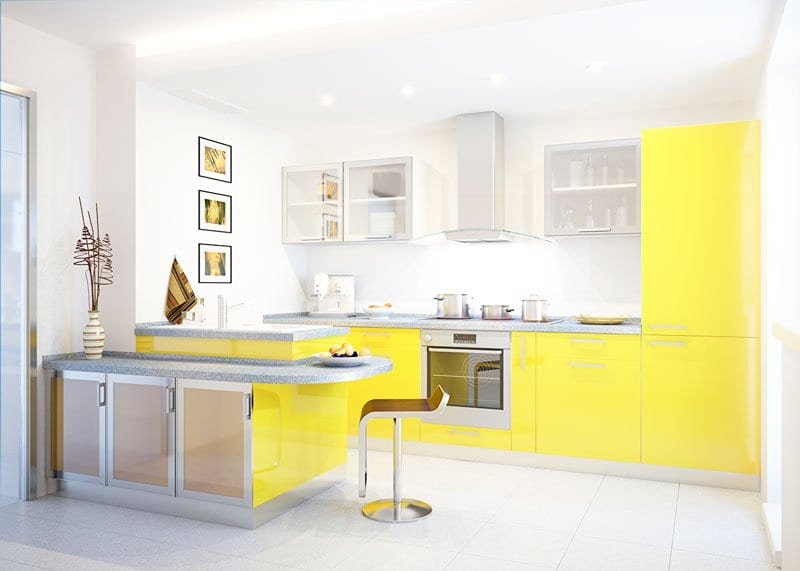 tủ bếp đẹp tông màu vàng