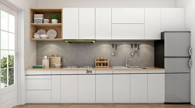 tủ bếp dài 3m chữ I