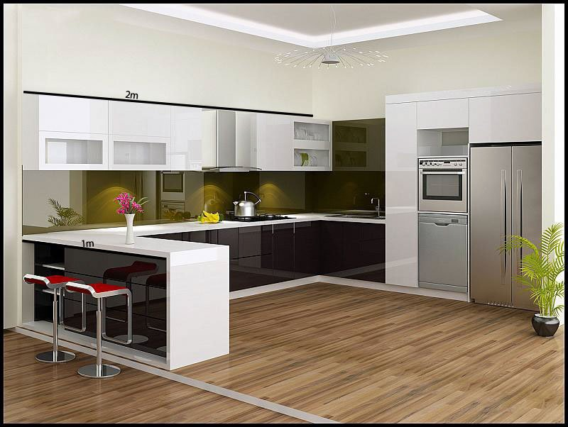 tủ bếp dài 3m chữ L