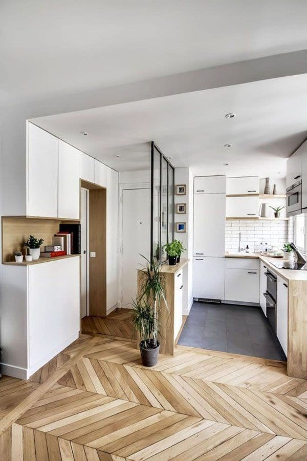 Tủ bếp chữ L đẹp giành cho nhà nhỏ
