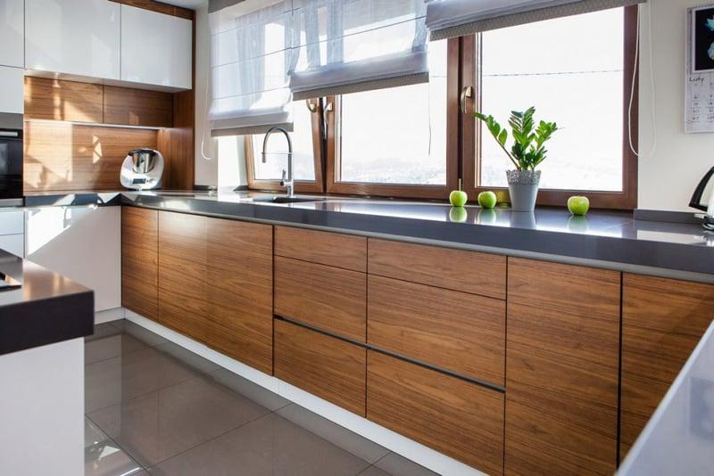tủ bếp gỗ công nghiệp melamine chữ u