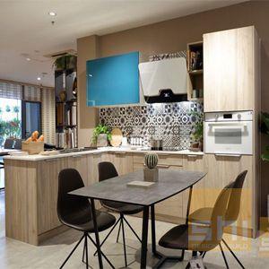tủ bếp gỗ mdf phủ melamine kiểu chữ l