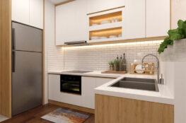 tủ bếp phủ melamine trắng cho căn hộ nhỏ
