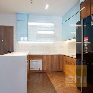 tủ bếp đẹp chữ u phủ acrylic