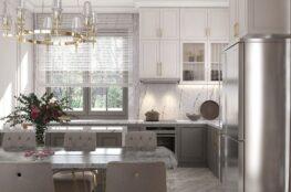 tủ bếp tân cổ điển đẹp hiện đại cho biệt thự