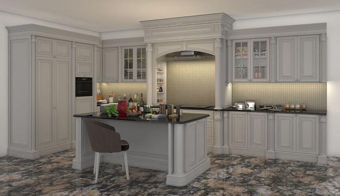 tủ bếp cổ điển đẹp - mẫu 08