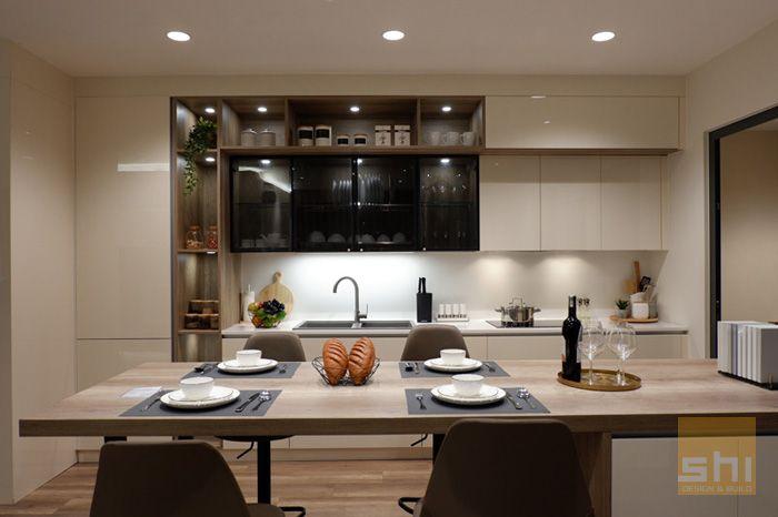 Tủ bếp acrylic chữ i đơn giản - hình 01