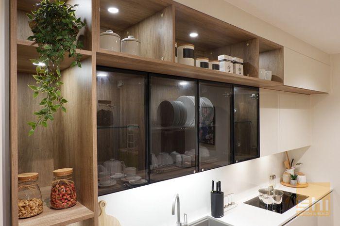 Tủ bếp acrylic chữ i đơn giản - hình 02