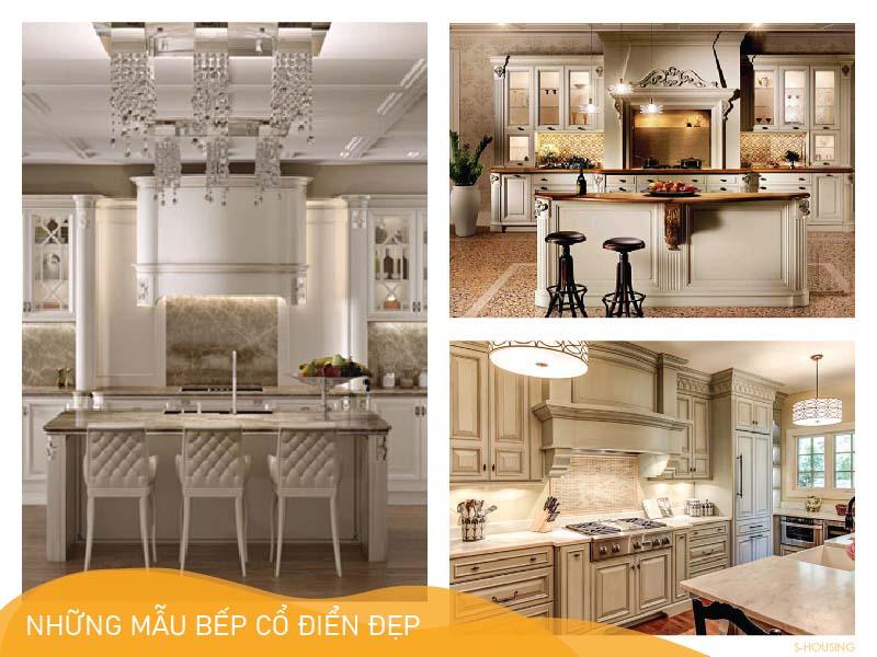 Những mẫu tủ bếp cổ điển đẹp cho căn hộ, nhà phố, biệt thự