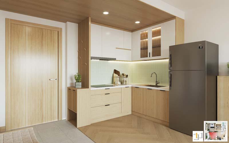 Mẫu tủ bếp đẹp phủ melamine phong cách japandi
