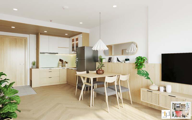 Mẫu tủ bếp japandi cho căn hộ 1 phòng ngủ kết hợp bàn ăn