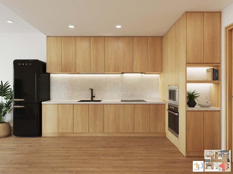 Mẫu tủ bếp japandi cho căn hộ 2 phòng ngủ
