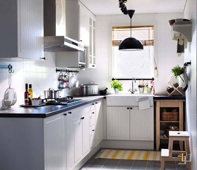 Tủ bếp chữ L đẹp mdf sơn 2k cho nhà nhỏ hiện đại