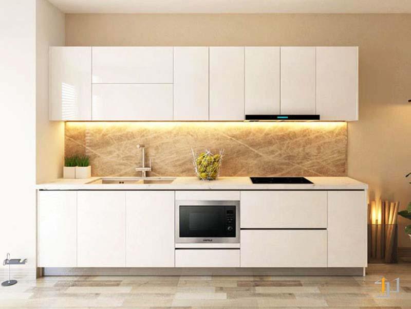 Tủ bếp đơn giản chữ i mdf chống ẩm phủ acrylic đẹp