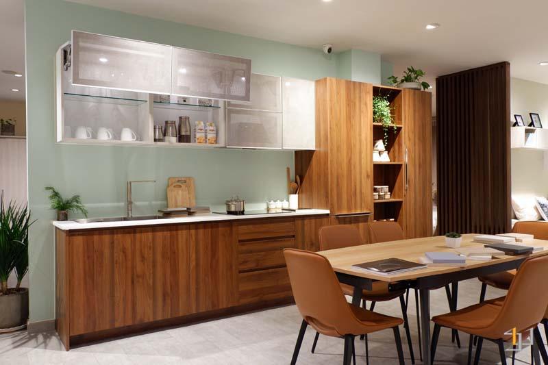 Tủ bếp đơn giản mà đẹp phủ melamine chữ i