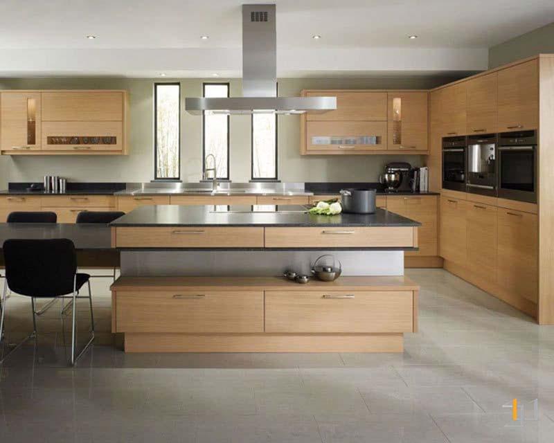 Mẫu tủ bếp melamine đơn giản sang trọng