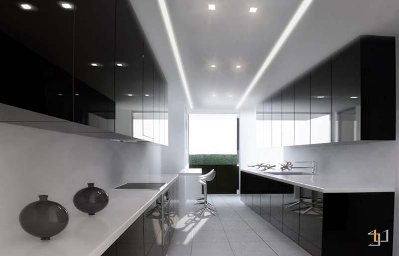 Tủ bếp đơn giản màu đen cá tính