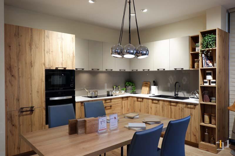 Mẫu tủ bếp chữ L đơn giản gỗ mdf chống ẩm phủ melamine