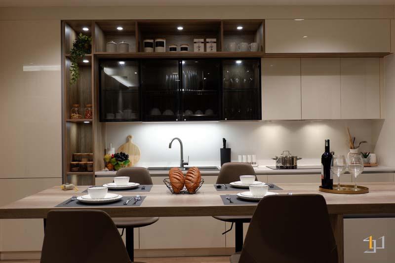 Tủ bếp acrylic chữ i đơn giản đẹp hiện đại
