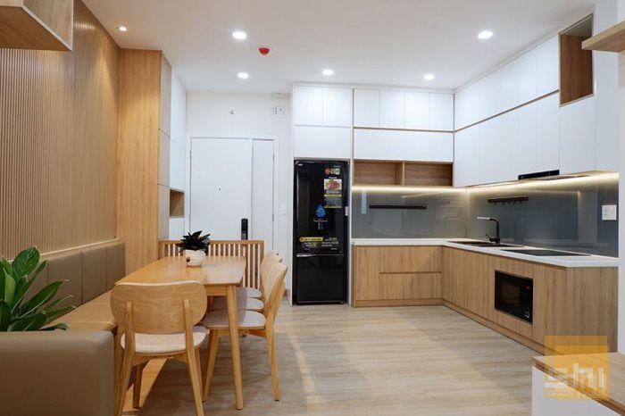 Mẫu tủ bếp mdf phủ melamine cho căn hộ nhỏ - 2.550.000đ/md - hình 02