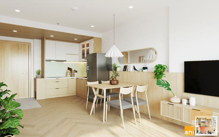 Mẫu tủ bếp đẹp japandi cho căn hộ 1 phòng ngủ - 01