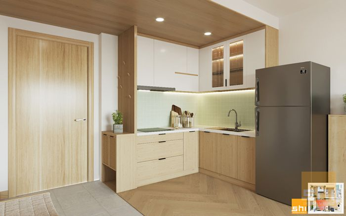 Mẫu tủ bếp đẹp japandi cho căn hộ 1 phòng ngủ