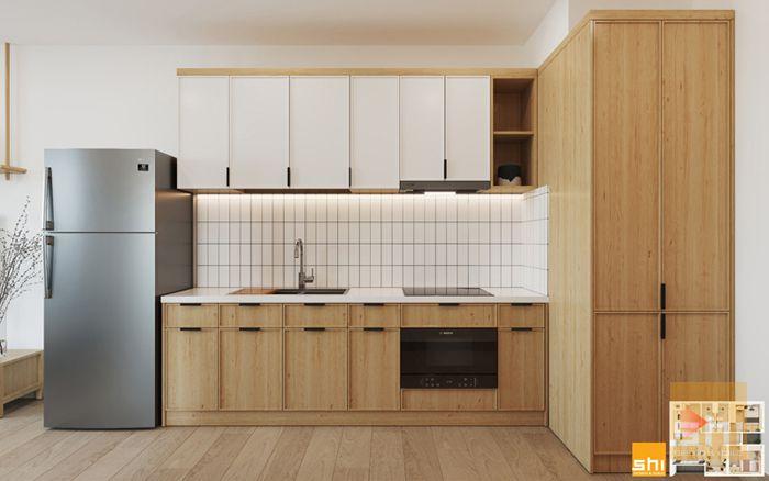 Mẫu tủ bếp phong cách japandi cho căn hộ 2 phòng ngủ