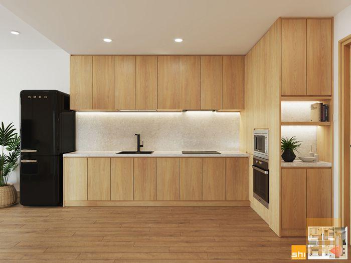 Tủ bếp đẹp phong cách japandi cho căn hộ 3 phòng ngủ