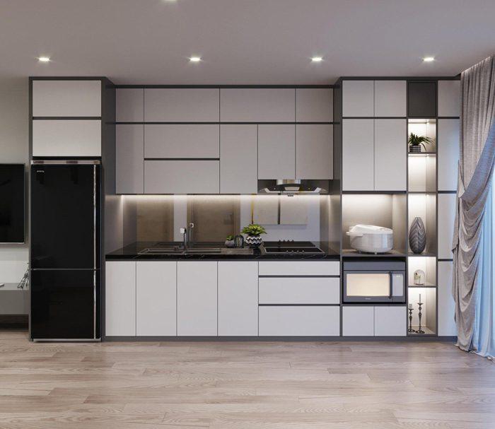 Tủ bếp đẹp kiểu chữ i mdf phủ melamine