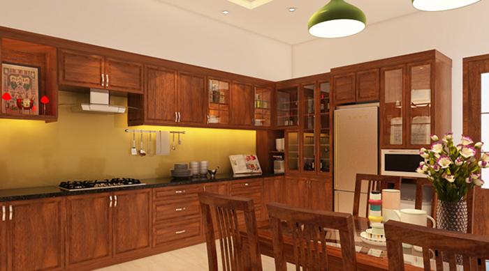 Mẫu Tủ Bếp Gỗ Có Bàn Thờ Ông Táo - Hình 01