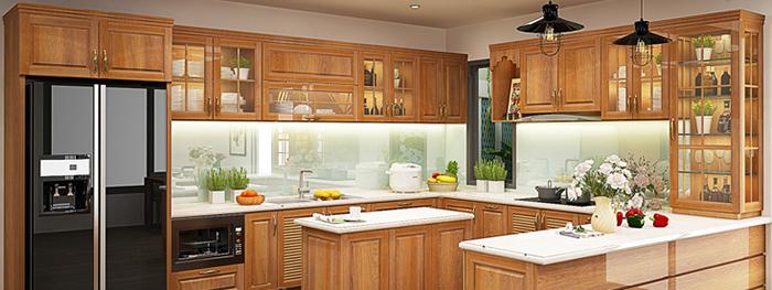 Mẫu Tủ Bếp Gỗ Có Bàn Thờ Ông Táo - Hình 02