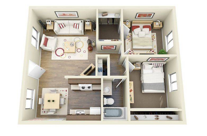 Thiết kế thi công nội thất căn hộ 50m2 - Hình 03