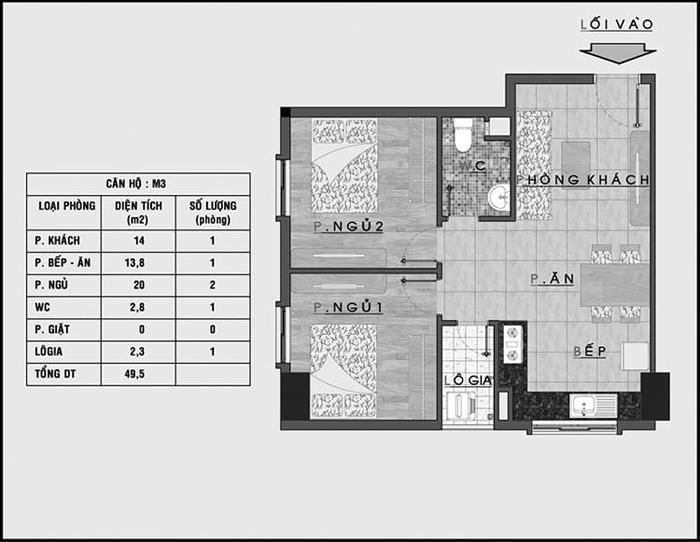 Thiết kế thi công nội thất căn hộ 50m2 - Hình 01