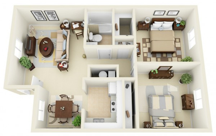 Thiết kế thi công nội thất căn hộ 50m2 - Hình 02