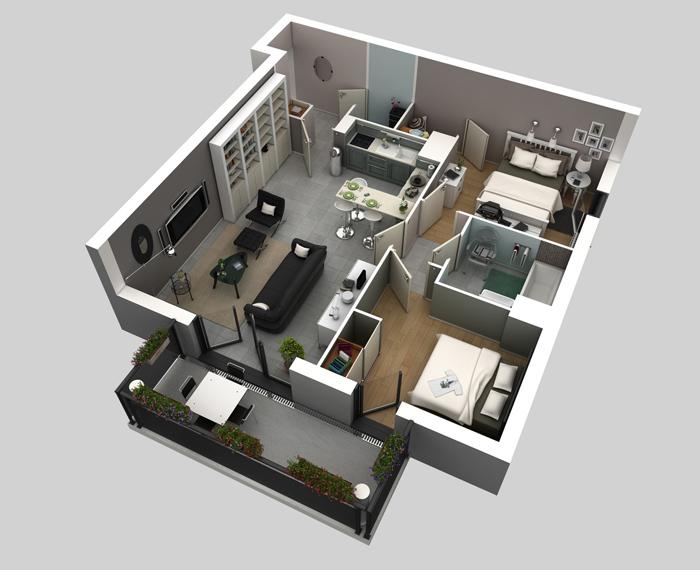 Thiết kế thi công nội thất căn hộ 50m2 - Hình 05
