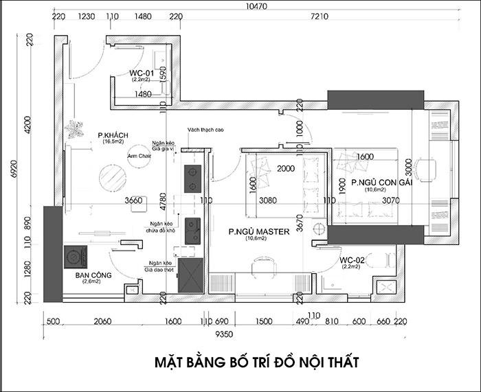 Thiết Kế Nội Thất Căn Hộ Chung Cư 56m2 - Hình 01