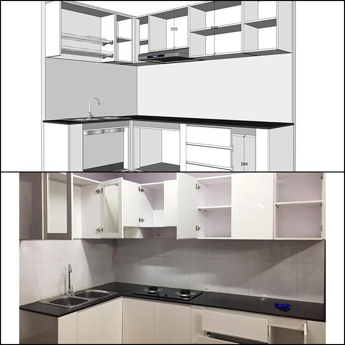 Thi công nội thất nhà bếp căn hộ Sơn Kỳ Q.Tân Phú - Hình 15