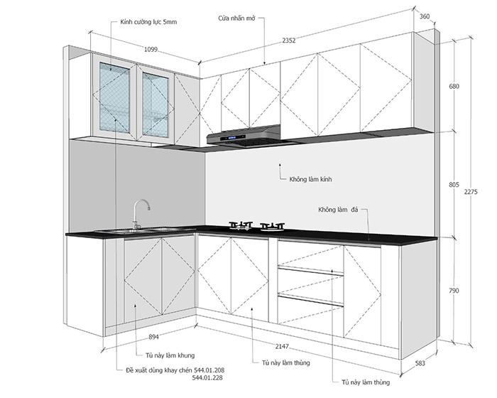 Thi công nội thất nhà bếp căn hộ Sơn Kỳ Q.Tân Phú - Hình 05