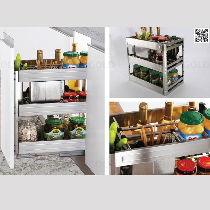 Kệ gia vị - phụ kiện không thể thiếu trong tủ bếp melamine vân gỗ