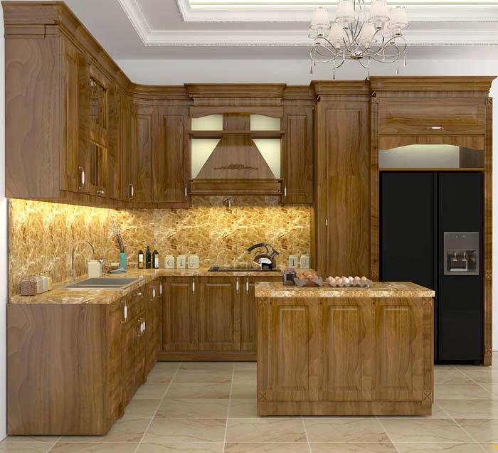 mẫu tủ bếp gỗ tự nhiên đẹp - mẫu 03