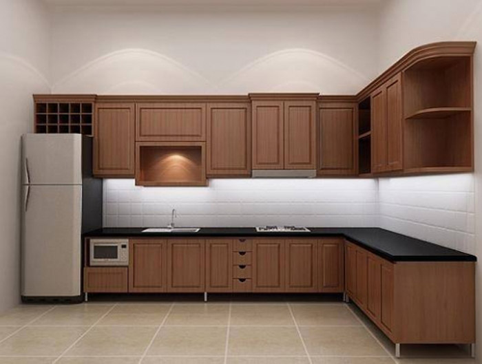 mẫu tủ bếp gỗ tự nhiên đẹp - mẫu 04