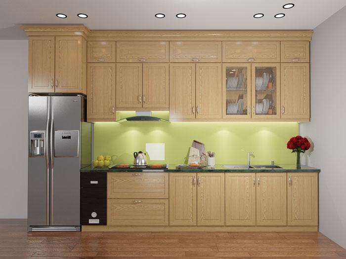 mẫu tủ bếp gỗ tự nhiên đẹp - mẫu 02