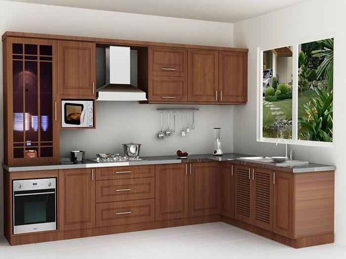 mẫu tủ bếp gỗ tự nhiên đẹp - mẫu 06