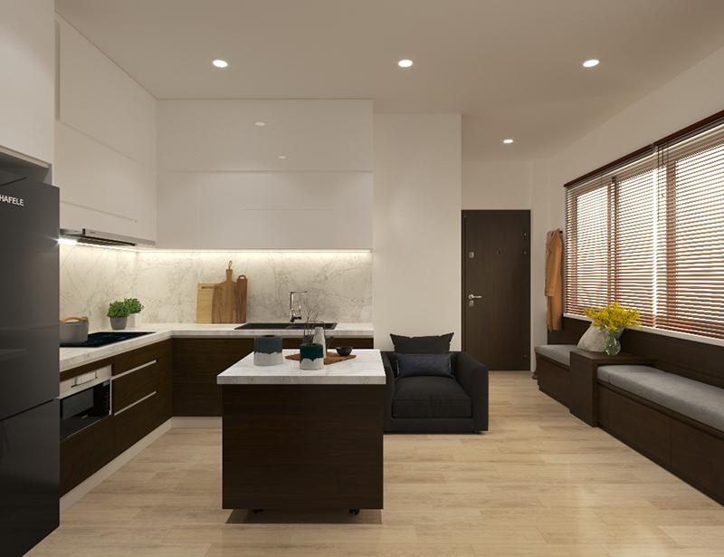 Bản vẽ 3D thiết kế tủ bếp có đảo bếp di động – hình 11