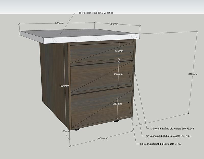Bản vẽ thiết kế đảo bếp di động - hình 15